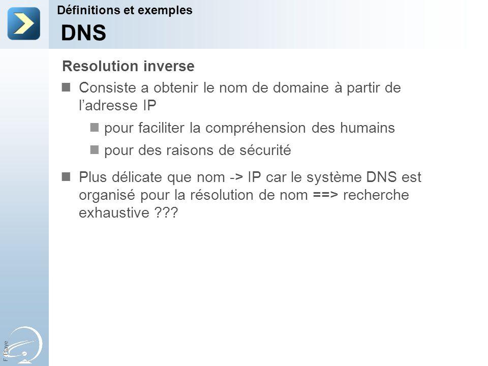 F. Playe Consiste a obtenir le nom de domaine à partir de ladresse IP pour faciliter la compréhension des humains pour des raisons de sécurité Plus dé