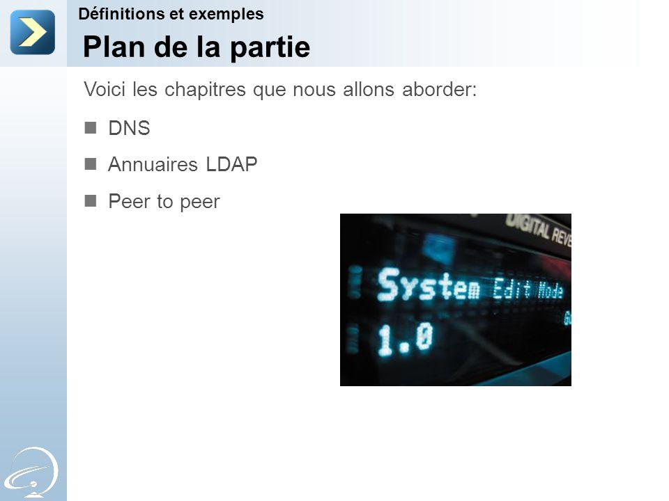 Plan de la partie DNS Annuaires LDAP Peer to peer Voici les chapitres que nous allons aborder: Définitions et exemples