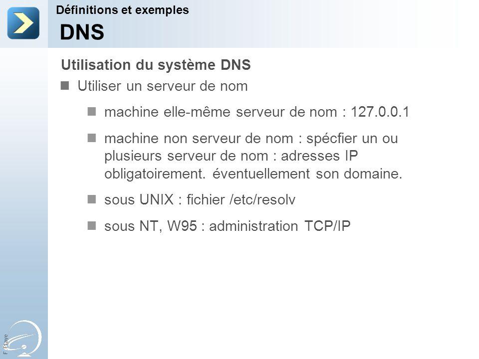 F. Playe Utiliser un serveur de nom machine elle-même serveur de nom : 127.0.0.1 machine non serveur de nom : spécfier un ou plusieurs serveur de nom