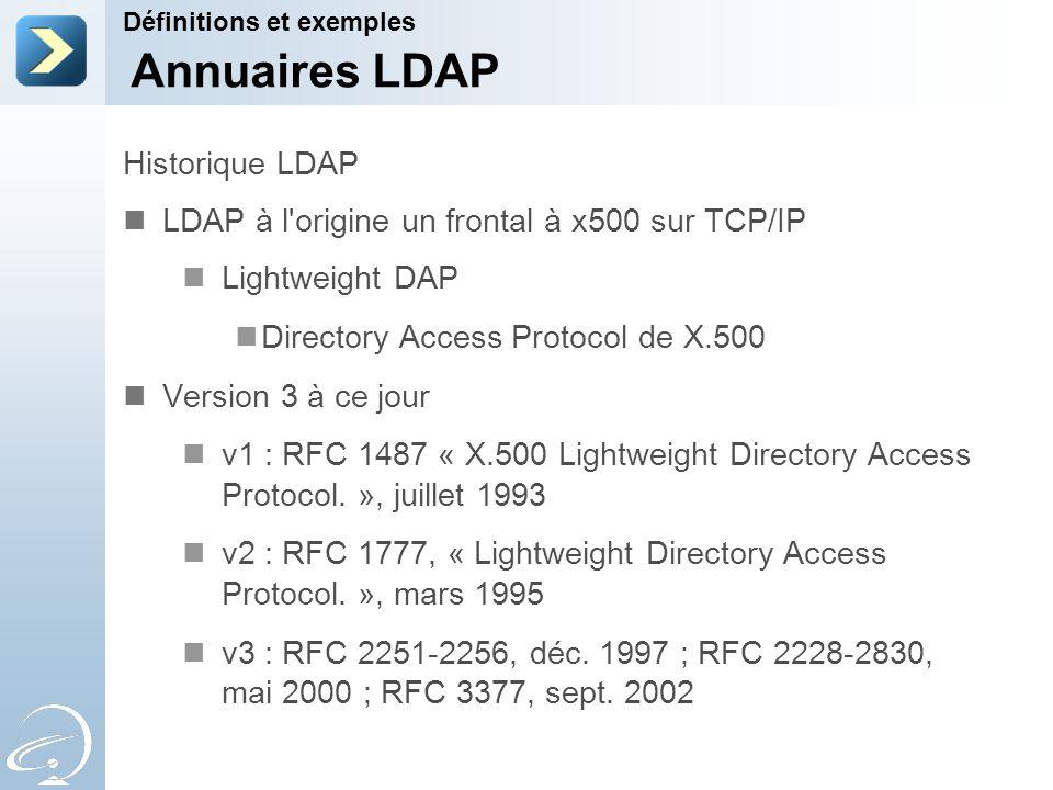 Historique LDAP LDAP à l'origine un frontal à x500 sur TCP/IP Lightweight DAP Directory Access Protocol de X.500 Version 3 à ce jour v1 : RFC 1487 « X