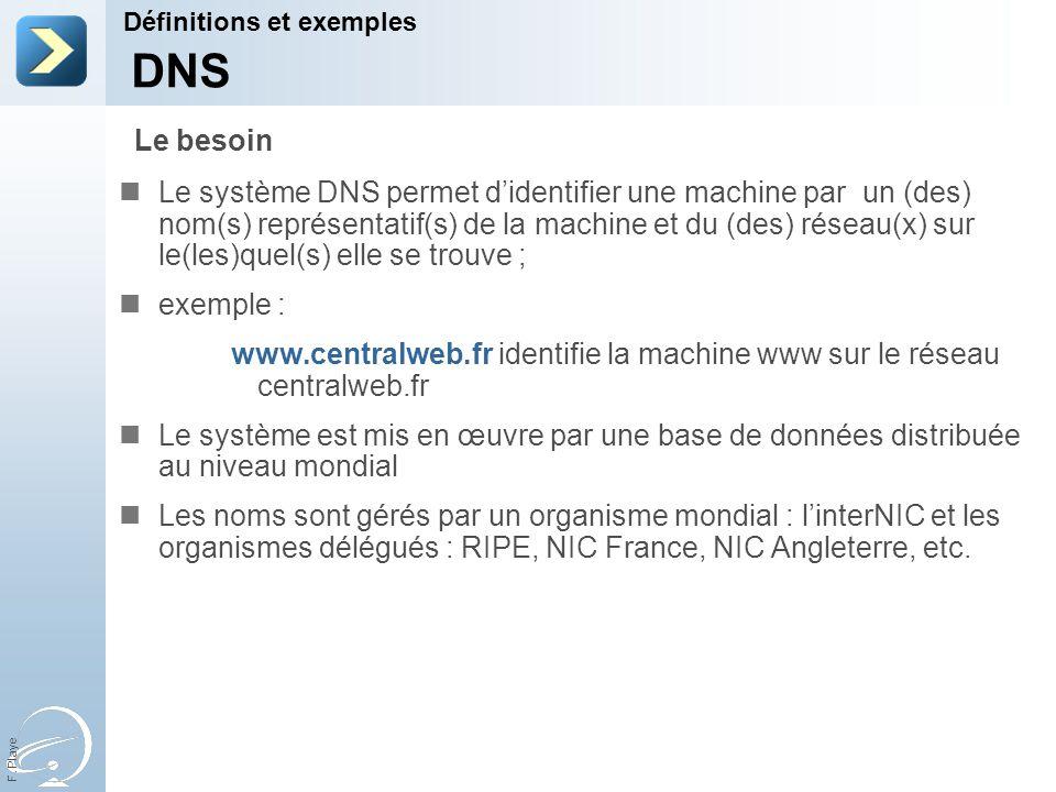 F. Playe Le système DNS permet didentifier une machine par un (des) nom(s) représentatif(s) de la machine et du (des) réseau(x) sur le(les)quel(s) ell