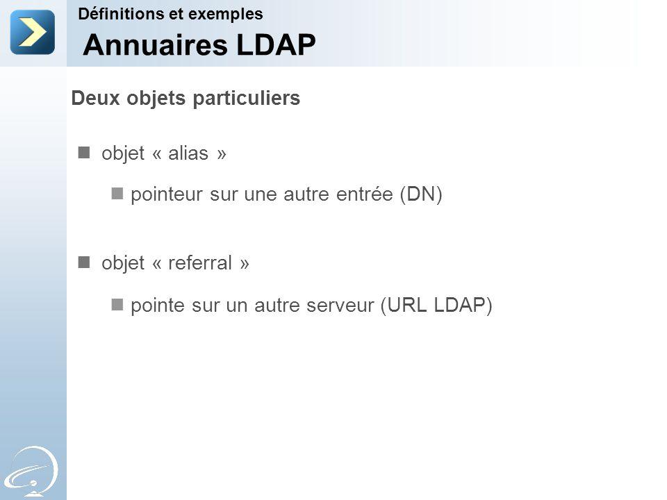 Deux objets particuliers objet « alias » pointeur sur une autre entrée (DN) objet « referral » pointe sur un autre serveur (URL LDAP) Définitions et e