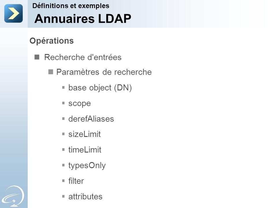 Opérations Recherche d'entrées Paramètres de recherche base object (DN) scope derefAliases sizeLimit timeLimit typesOnly filter attributes Définitions