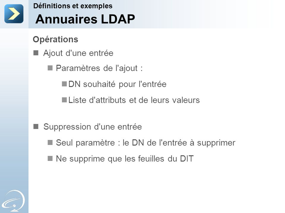 Opérations Ajout d'une entrée Paramètres de l'ajout : DN souhaité pour l'entrée Liste d'attributs et de leurs valeurs Suppression d'une entrée Seul pa