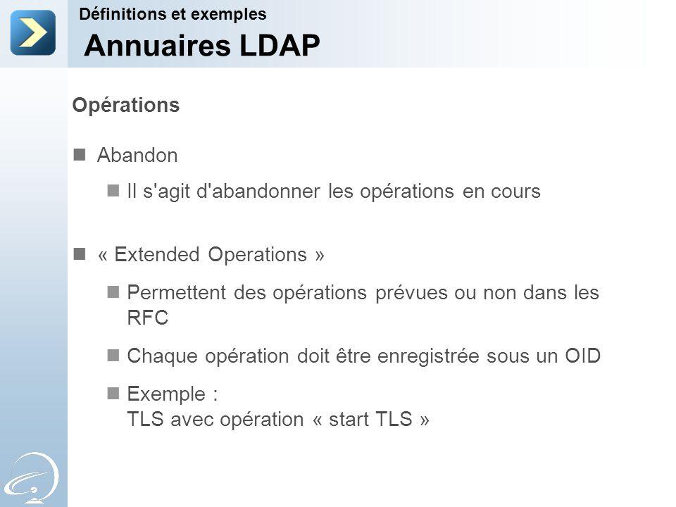 Opérations Abandon Il s'agit d'abandonner les opérations en cours « Extended Operations » Permettent des opérations prévues ou non dans les RFC Chaque