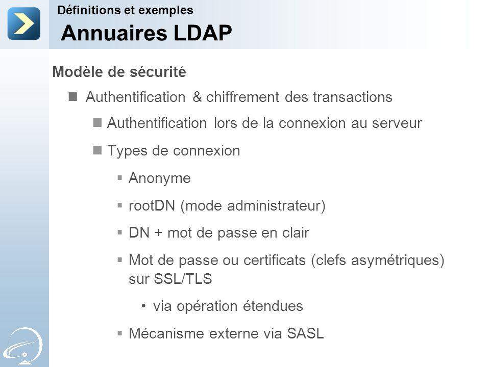 Modèle de sécurité Authentification & chiffrement des transactions Authentification lors de la connexion au serveur Types de connexion Anonyme rootDN