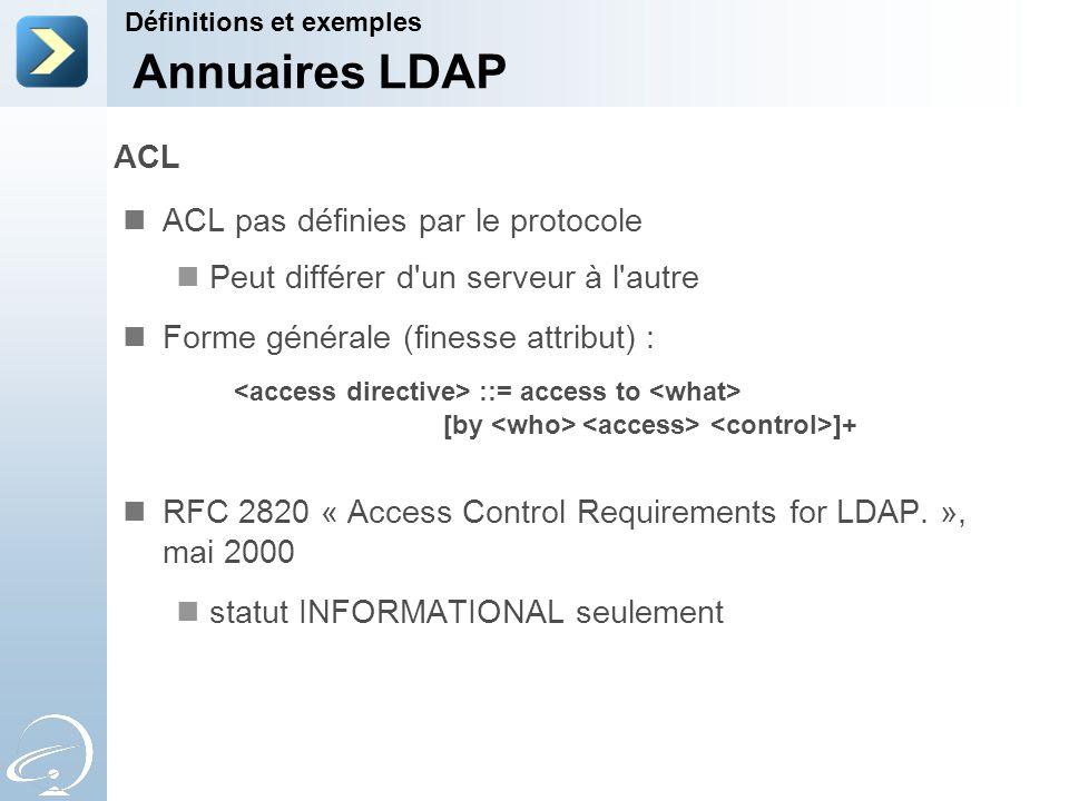 ACL ACL pas définies par le protocole Peut différer d'un serveur à l'autre Forme générale (finesse attribut) : ::= access to [by ]+ RFC 2820 « Access