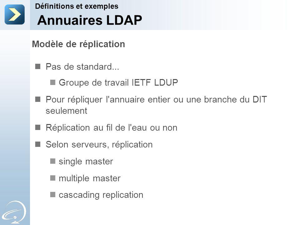 Modèle de réplication Pas de standard... Groupe de travail IETF LDUP Pour répliquer l'annuaire entier ou une branche du DIT seulement Réplication au f