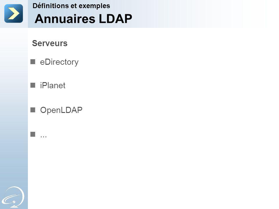 Serveurs eDirectory iPlanet OpenLDAP... Définitions et exemples Annuaires LDAP