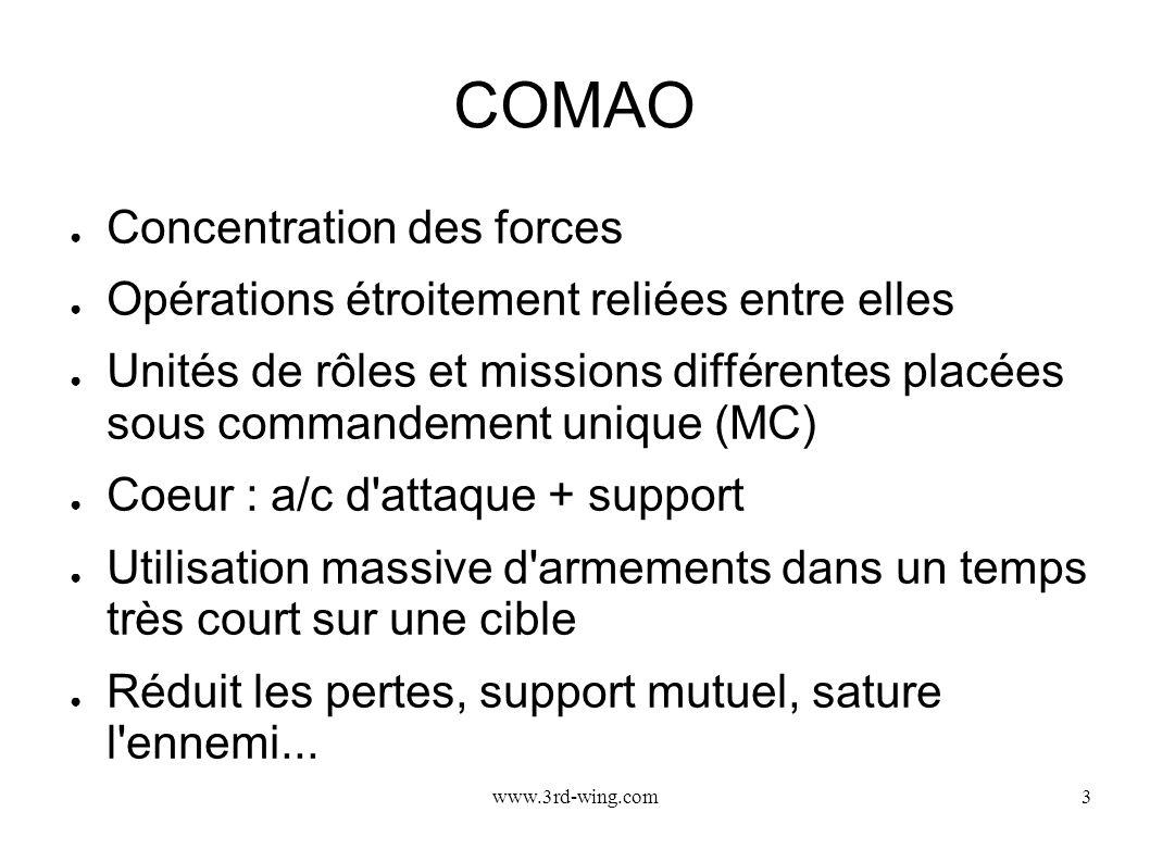 www.3rd-wing.com3 COMAO Concentration des forces Opérations étroitement reliées entre elles Unités de rôles et missions différentes placées sous comma