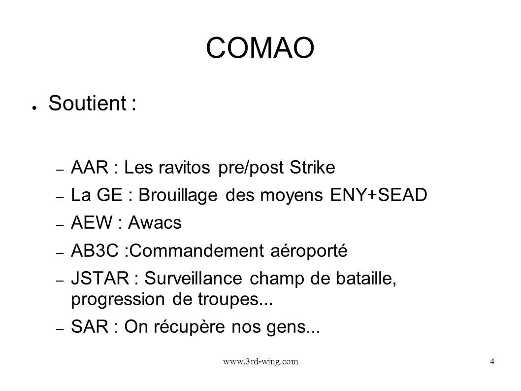 www.3rd-wing.com4 COMAO Soutient : – AAR : Les ravitos pre/post Strike – La GE : Brouillage des moyens ENY+SEAD – AEW : Awacs – AB3C :Commandement aér
