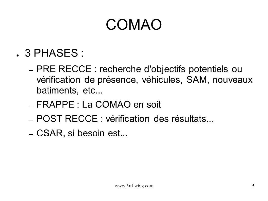 www.3rd-wing.com5 COMAO 3 PHASES : – PRE RECCE : recherche d'objectifs potentiels ou vérification de présence, véhicules, SAM, nouveaux batiments, etc