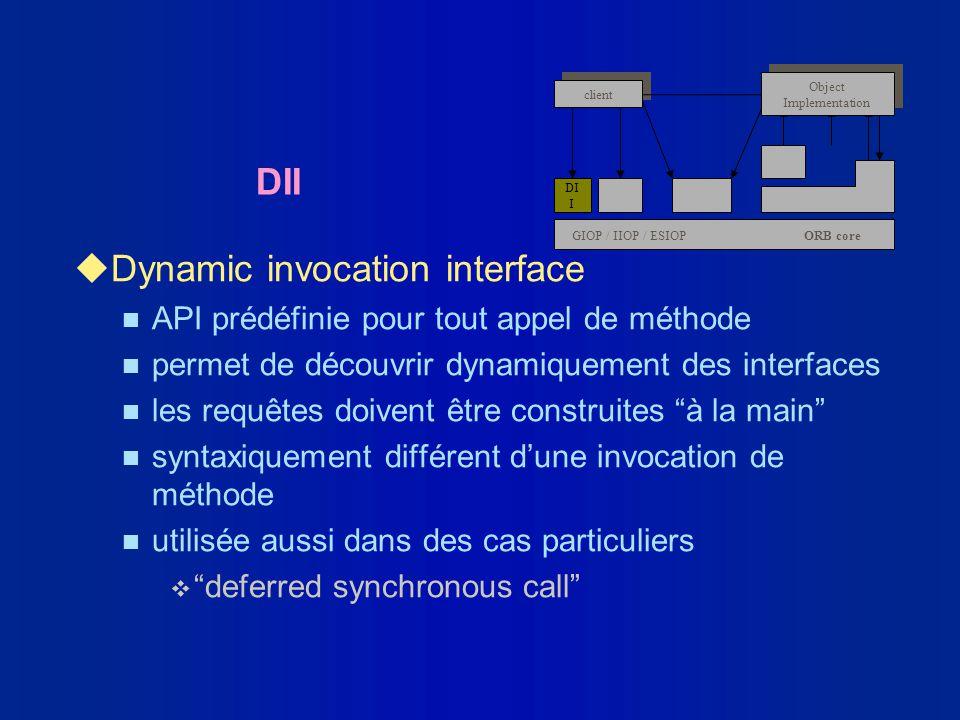 DII uDynamic invocation interface n API prédéfinie pour tout appel de méthode n permet de découvrir dynamiquement des interfaces n les requêtes doiven