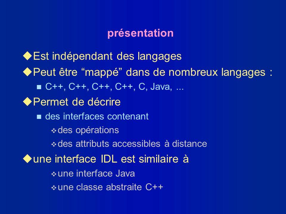 présentation uEst indépendant des langages uPeut être mappé dans de nombreux langages : n C++, C++, C++, C++, C, Java,... uPermet de décrire n des int
