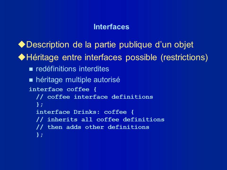 Interfaces uDescription de la partie publique dun objet uHéritage entre interfaces possible (restrictions) n redéfinitions interdites n héritage multi