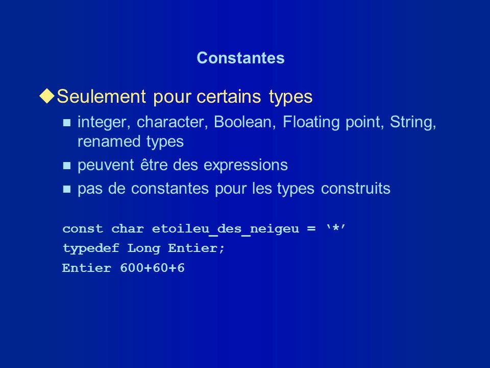 Constantes uSeulement pour certains types n integer, character, Boolean, Floating point, String, renamed types n peuvent être des expressions n pas de