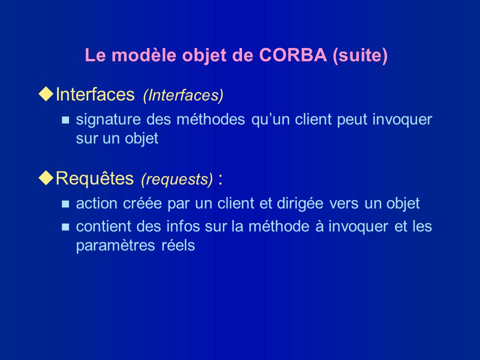 Le modèle objet de CORBA (suite) uInterfaces (Interfaces) n signature des méthodes quun client peut invoquer sur un objet uRequêtes (requests) : n act