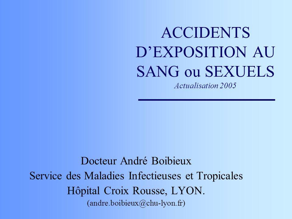 RISQUES DE TRANSMISSION POUR LE VIH (2) ( Gerberding 95, Dormont 96) Morsure : non quantifié (2 cas rapportés dans la littérature).