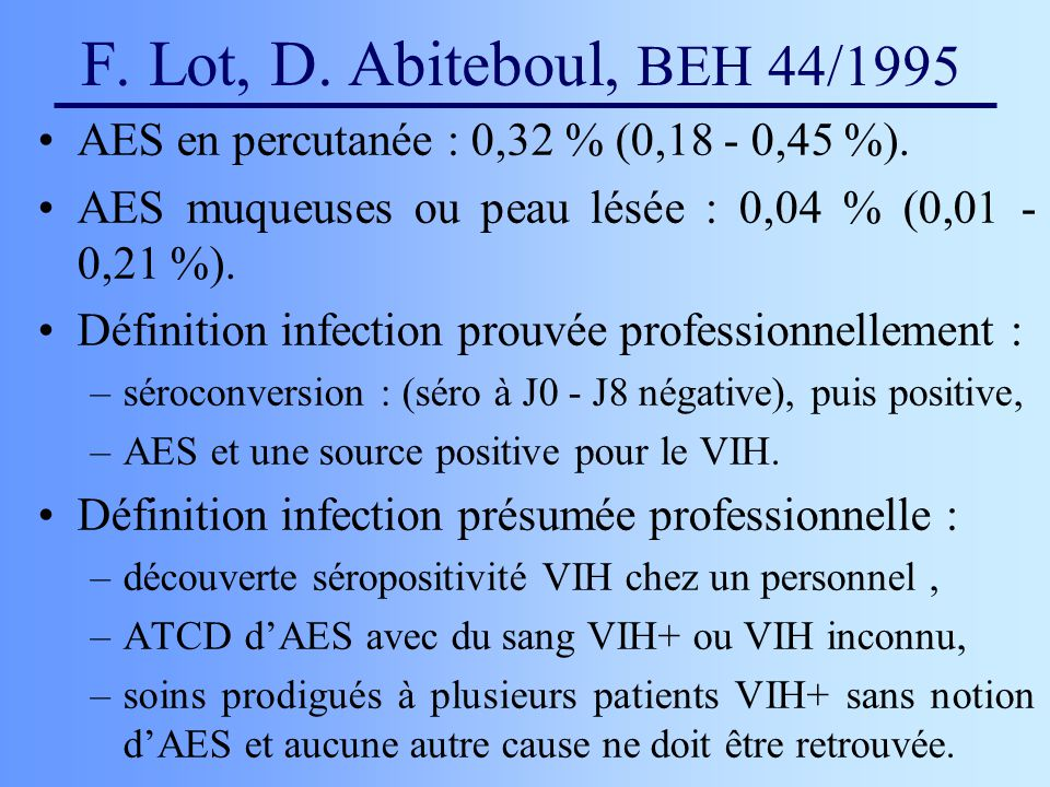 F.Lot, D. Abiteboul, BEH 44/1995 AES en percutanée : 0,32 % (0,18 - 0,45 %).