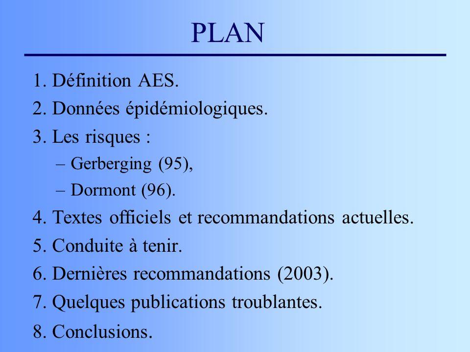 PLAN 1. Définition AES. 2. Données épidémiologiques. 3. Les risques : –Gerberging (95), –Dormont (96). 4. Textes officiels et recommandations actuelle