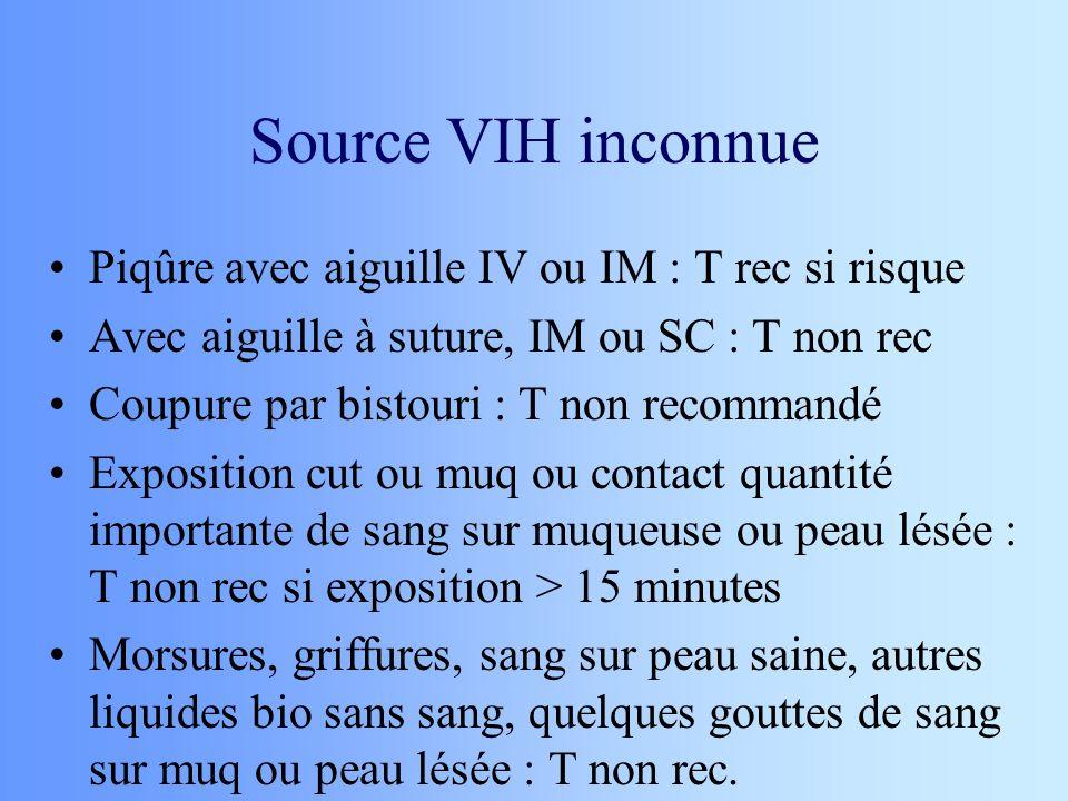 Source VIH inconnue Piqûre avec aiguille IV ou IM : T rec si risque Avec aiguille à suture, IM ou SC : T non rec Coupure par bistouri : T non recomman