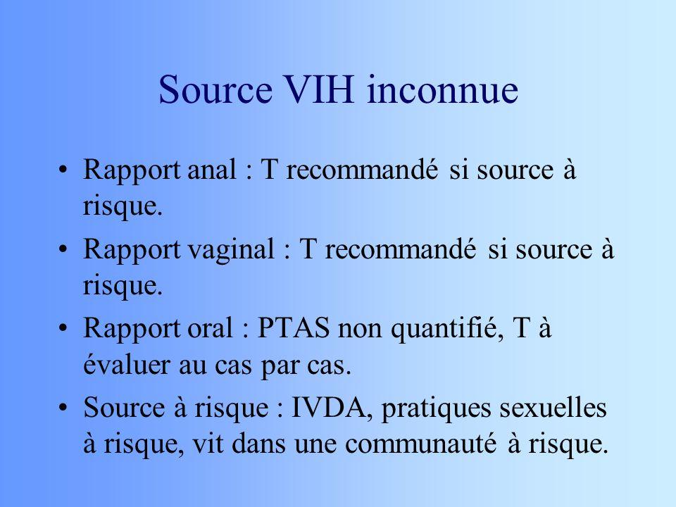 Source VIH inconnue Rapport anal : T recommandé si source à risque. Rapport vaginal : T recommandé si source à risque. Rapport oral : PTAS non quantif