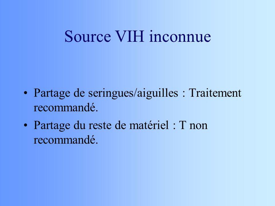 Source VIH inconnue Partage de seringues/aiguilles : Traitement recommandé. Partage du reste de matériel : T non recommandé.