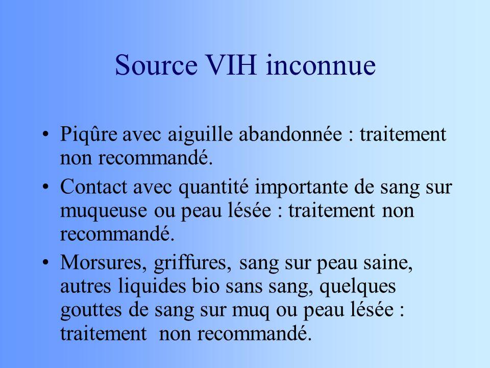 Source VIH inconnue Piqûre avec aiguille abandonnée : traitement non recommandé. Contact avec quantité importante de sang sur muqueuse ou peau lésée :