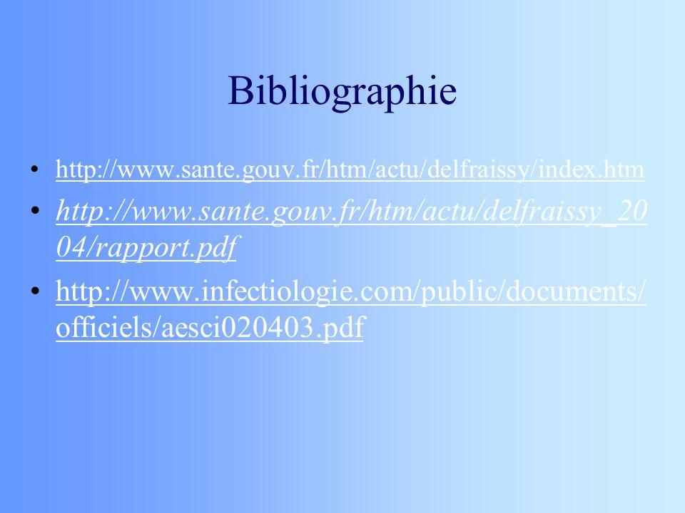 Bibliographie http://www.sante.gouv.fr/htm/actu/delfraissy/index.htm http://www.sante.gouv.fr/htm/actu/delfraissy_20 04/rapport.pdfhttp://www.sante.go