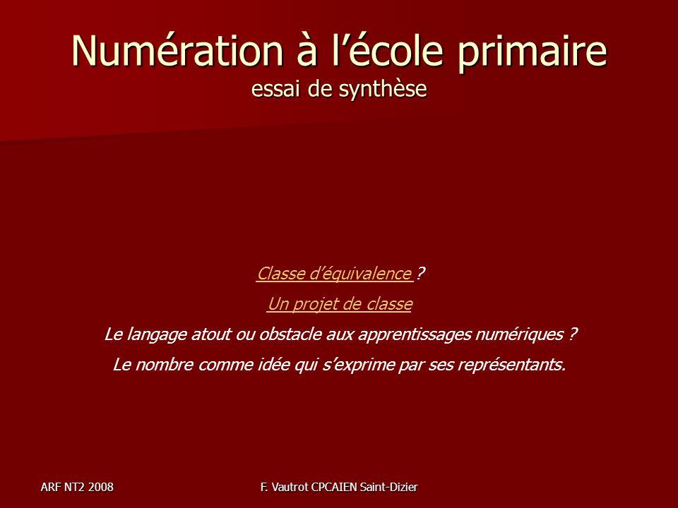 ARF NT2 2008F. Vautrot CPCAIEN Saint-Dizier Numération à lécole primaire essai de synthèse Classe déquivalence Classe déquivalence ? Un projet de clas