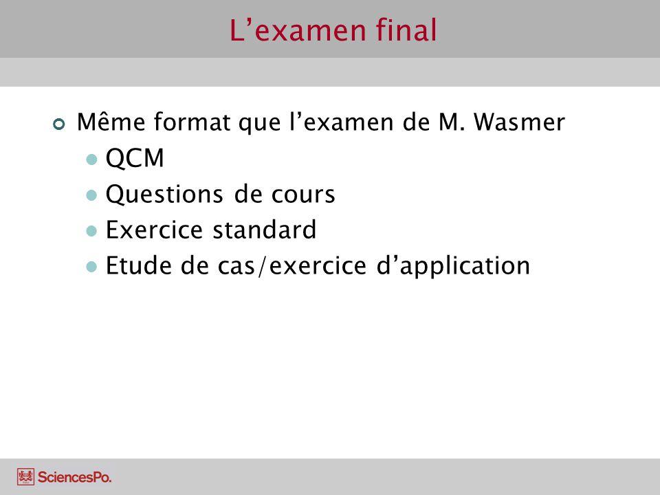 Lexamen final Même format que lexamen de M. Wasmer QCM Questions de cours Exercice standard Etude de cas/exercice dapplication