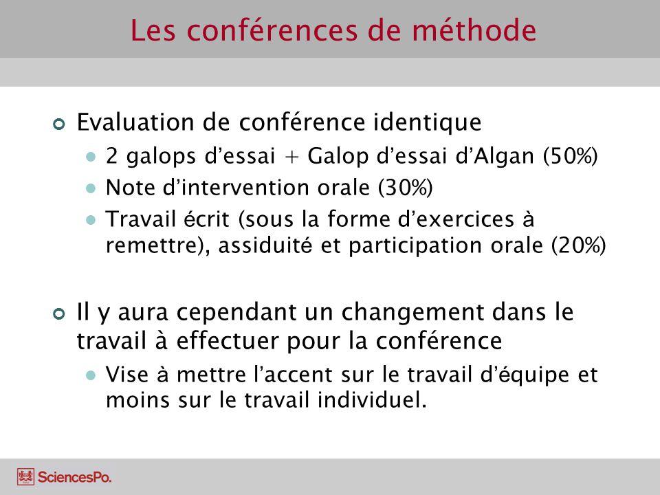 Les conférences de méthode Evaluation de conférence identique 2 galops d essai + Galop d essai d Algan (50%) Note d intervention orale (30%) Travail é
