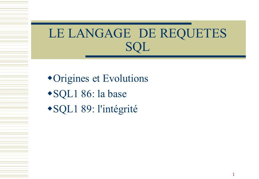 1 LE LANGAGE DE REQUETES SQL Origines et Evolutions SQL1 86: la base SQL1 89: l intégrité