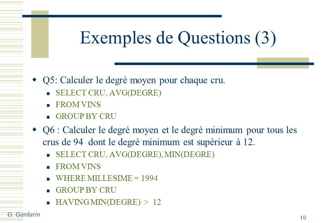 G. Gardarin 10 Exemples de Questions (3) Q5: Calculer le degré moyen pour chaque cru.