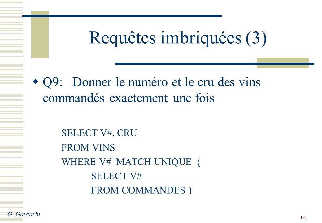 G. Gardarin 14 Requêtes imbriquées (3) Q9: Donner le numéro et le cru des vins commandés exactement une fois SELECT V#, CRU FROM VINS WHERE V# MATCH U