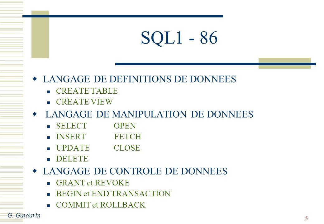 G. Gardarin 5 SQL1 - 86 LANGAGE DE DEFINITIONS DE DONNEES CREATE TABLE CREATE VIEW LANGAGE DE MANIPULATION DE DONNEES SELECT OPEN INSERT FETCH UPDATE