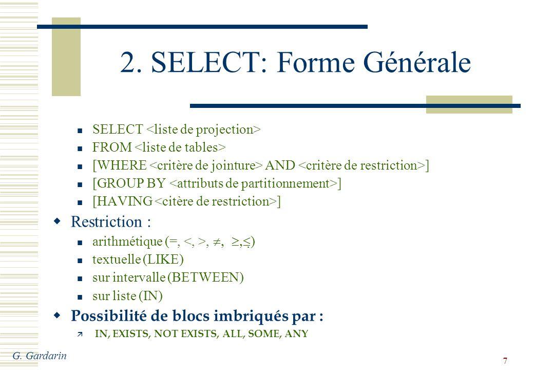 G.Gardarin 8 Exemples de Questions (1) Q1: Crus des vins sans doubles.