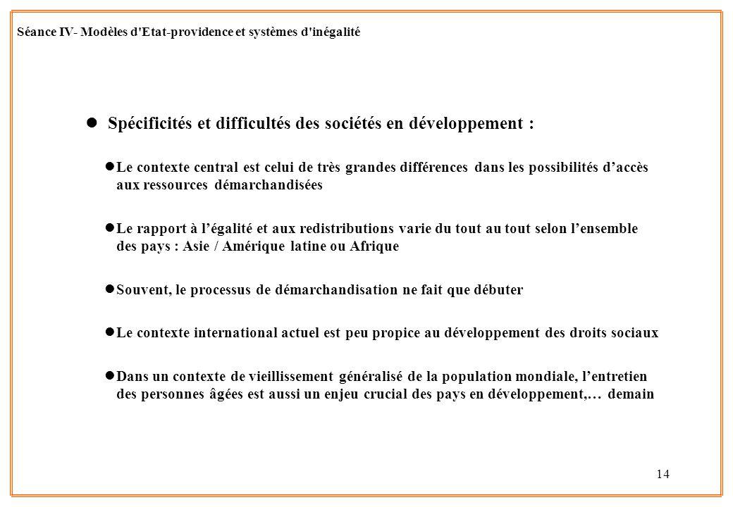14 l Spécificités et difficultés des sociétés en développement : lLe contexte central est celui de très grandes différences dans les possibilités dacc