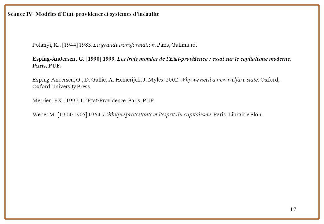 17 Polanyi, K.. [1944] 1983. La grande transformation. Paris, Gallimard. Esping-Andersen, G. [1990] 1999. Les trois mondes de l'Etat-providence : essa