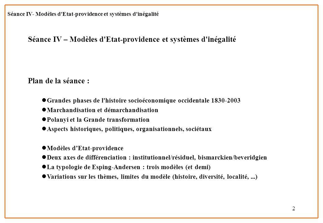 2 Séance IV – Modèles d'Etat-providence et systèmes d'inégalité Plan de la séance : lGrandes phases de l'histoire socioéconomique occidentale 1830-200