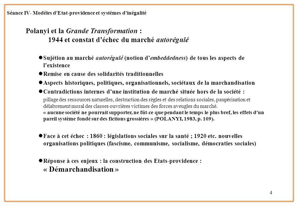 4 Polanyi et la Grande Transformation : 1944 et constat déchec du marché autorégulé lSujétion au marché autorégulé (notion dembeddedness) de tous les