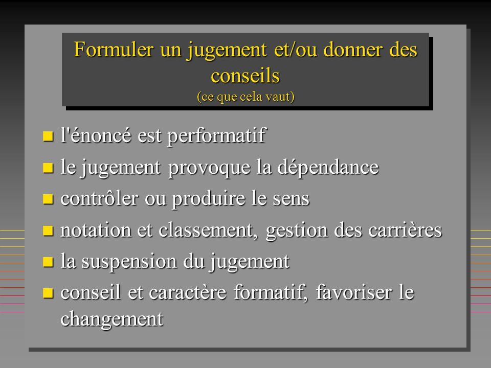 Formuler un jugement et/ou donner des conseils (ce que cela vaut) n l'énoncé est performatif n le jugement provoque la dépendance n contrôler ou produ