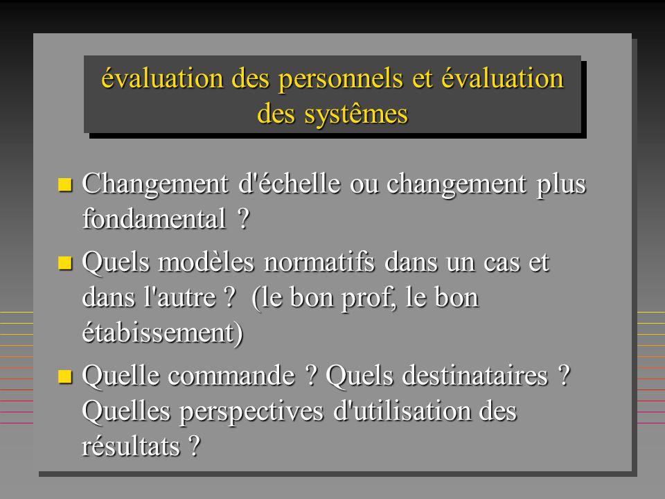 évaluation des personnels et évaluation des systêmes n Changement d'échelle ou changement plus fondamental ? n Quels modèles normatifs dans un cas et