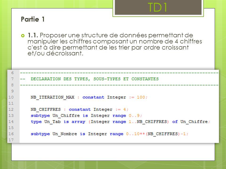 Partie 1 1.1. Proposer une structure de données permettant de manipuler les chiffres composant un nombre de 4 chiffres c'est à dire permettant de les