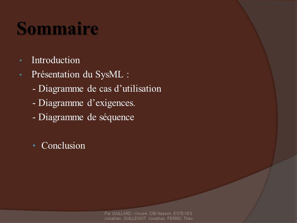Sommaire Introduction Présentation du SysML : - Diagramme de cas dutilisation - Diagramme dexigences. - Diagramme de séquence Conclusion Par GAILLARD