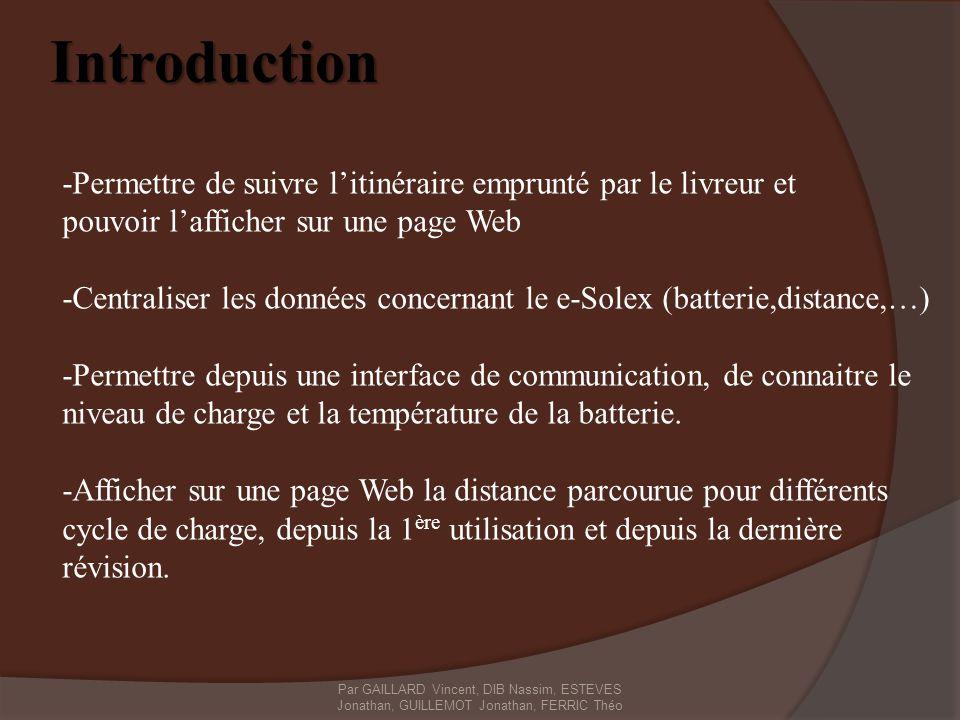 Introduction -Permettre de suivre litinéraire emprunté par le livreur et pouvoir lafficher sur une page Web -Centraliser les données concernant le e-S