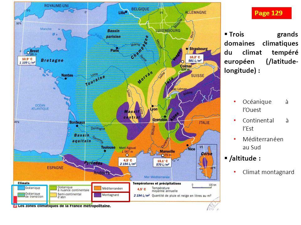 Climat océanique Climat semi - continental Climat méditerranéen Climat montagnard Schéma 3 : Les climats de la France métropolitaine