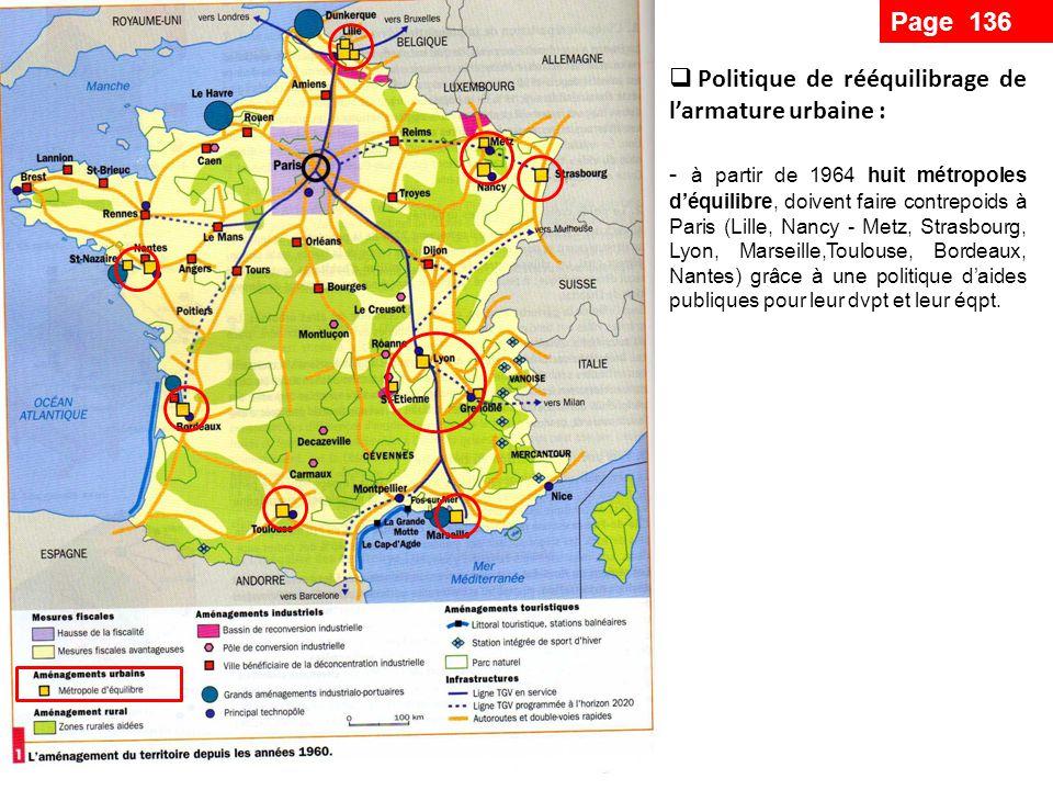 - réorganisation de la croissance de lagglomération parisienne pour éviter sa saturation : création de 5 villes nouvelles Développement des infrastructures de transport