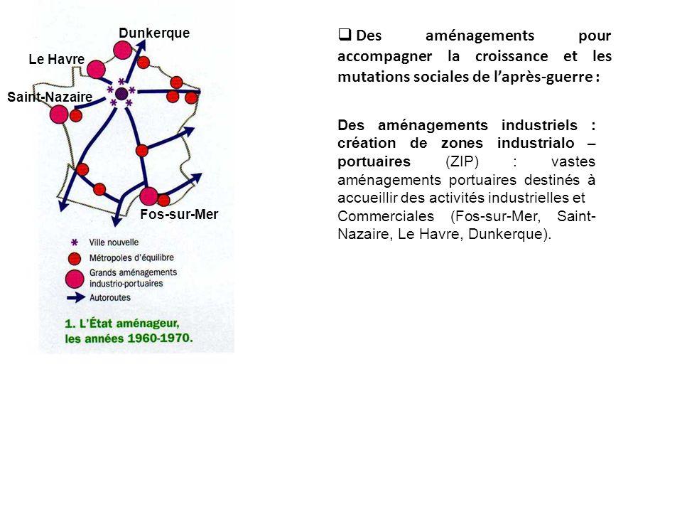Page 136 Des aménagements pour accompagner la croissance et les mutations sociales de laprès- guerre : Aménagements touristiques du littoral : Languedoc-Roussillon (1963) et dAquitaine (1967) avec la création de stations touristiques intégrées.