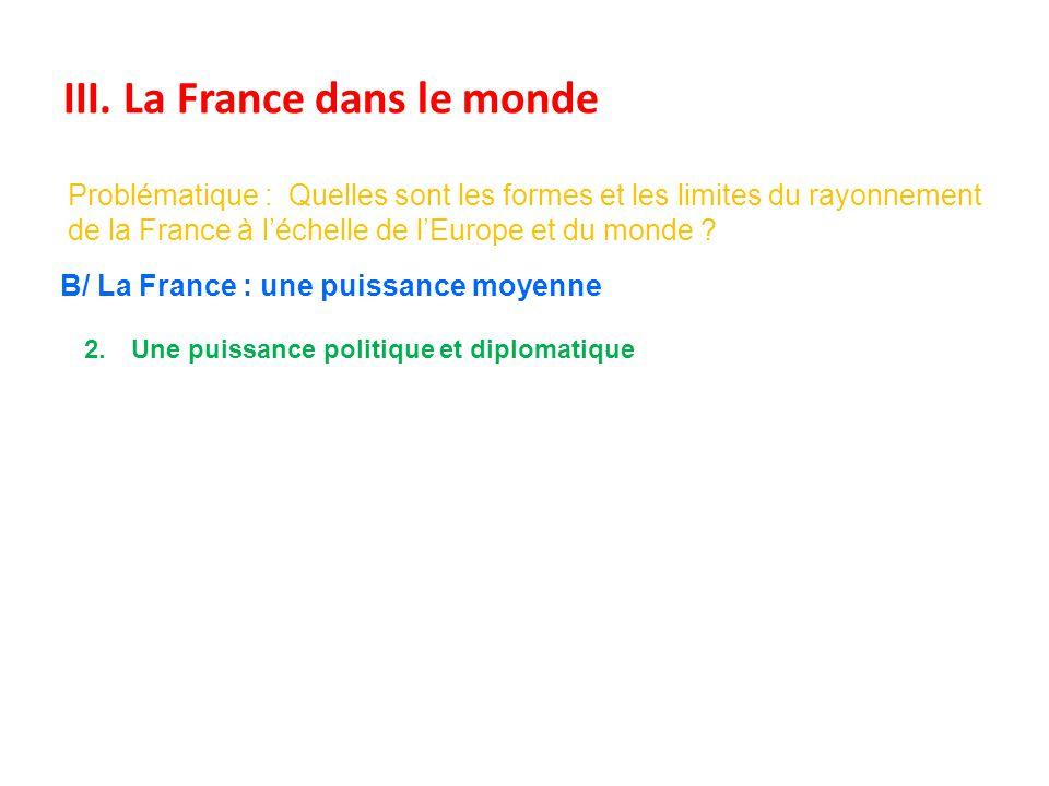 III. La France dans le monde Problématique : Quelles sont les formes et les limites du rayonnement de la France à léchelle de lEurope et du monde ? B/